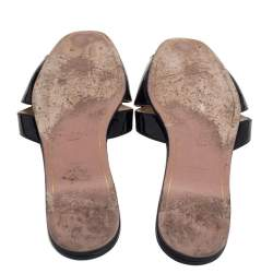 Prada Black Patent Leather Bow Open Toe Flat Slides Size 39