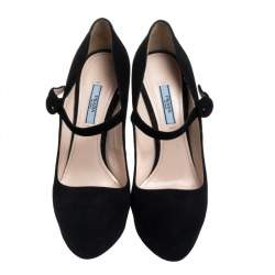 Prada Black Suede Platform Mary Jane Pumps Size 40.5