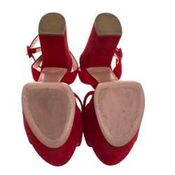 Prada Red Suede Block Heel Platform Ankle Strap Sandals Size 38