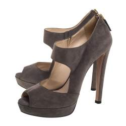 Prada Dark Grey Suede Peep Toe Platform Sandals Size 40