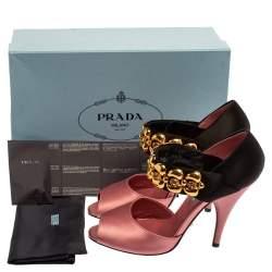 Prada Pink/Black Satin Embellished Mary Jane Open Toe Sandals Size 38