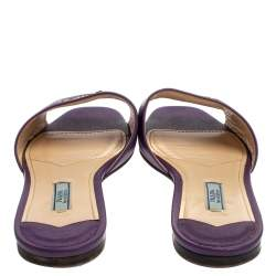 Prada Purple Saffiano Leather Logo Embellished Flat Slides Size 38.5