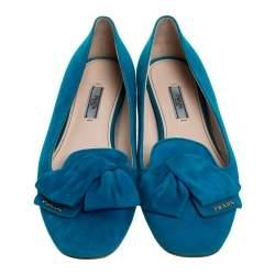 Prada Blue Suede Bow Ballet Flats Size 40.5