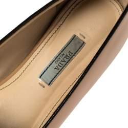Prada Beige Patent Leather Smoking Slippers Size 39