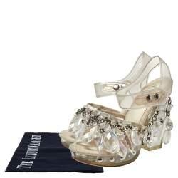 Prada PVC And Satin Crystal Embellished Platform Sandals Size 37