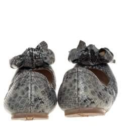Prada Multicolor Snakeskin Embossed Leather Bow Ballet Flats 38