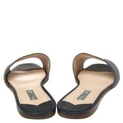 Prada Blue Saffiano Leather Logo Embellished Flat Slides Size 40