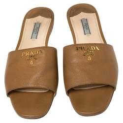 Prada Brown Saffiano Leather Logo Embellished Flat Slides Size 40