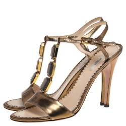Prada Metallic Bronze Leather Crystal Embellished T Strap  Sandals Size 39.5