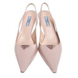 Prada Beige Leather Slingback Sandals Size 38.5