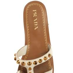 Prada White Patent Leather Studded Flats Size 38