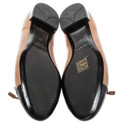 Prada Beige/Black Patent Leather And Leather Bow Cap Toe Ballet Flats Size 37