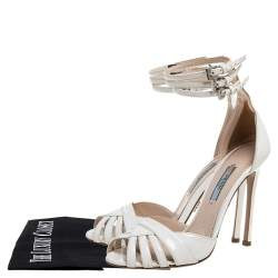 Prada Off White Patent Leather  Strappy Sandals Size 36