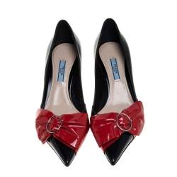 Prada Black/Red Leather Bow Pointed Toe Pumps Size 39