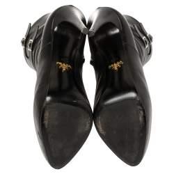 بوت للكاحل برادا جلد أسود بسحاب مزين مقاس 39.5