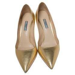 Prada Gold Patent Saffiano Leather Pointed Toe Pumps Size 42
