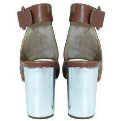Prada Brown Leather Block Heels EU 38