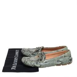 Prada Green Python Embossed Leather Slip On Loafers Size 38