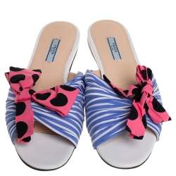 Prada Blue/Pink Fabric Polka Dot Bow Detail Slide Sandals Size 41