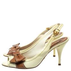 Prada Light Yellow/Brown Patent And Leather Bow Slingback Sandals Size 37
