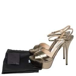 Prada Gold Patent Leather Platform Ankle Strap Sandals Size 37