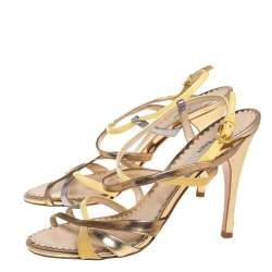 Prada Multicolor Metallic Leather And Patent Strappy Slingback Sandals Size 36.5