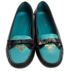 Prada Black/Blue Saffiano Leather Bow Loafers Size 36.5