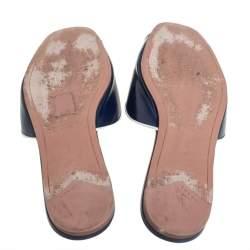 Prada Blue Patent Saffiano Leather Logo Embellished Flat Slides Size 37.5
