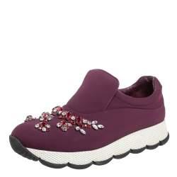 Prada Burgundy Neoprene Crystal Embellished Slip On Sneakers Size 37