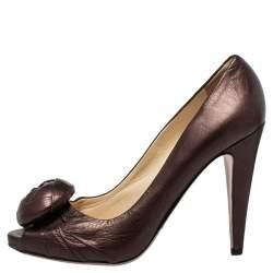 Prada Metallic Brown Leather Rose Pumps Size 38