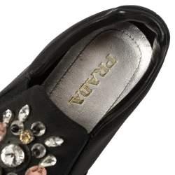 Prada Black Canvas Crystal Embellished Slip On Sneakers Size 38