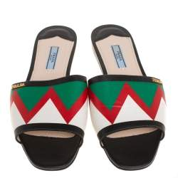 Prada Multicolor Leather Flat Slides Size 39