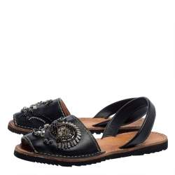 Prada Black Leather Crystal Embellished Flat Sandals Size 39.5