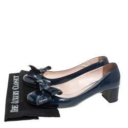 Prada Navy Blue Patent Leather Bow Block Heel Pumps Size 40.5