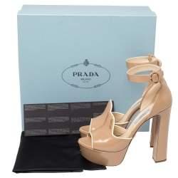 Prada Beige Patent Leather Ankle Strap Block Heel Platform Sandals Size 37