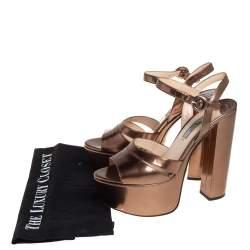 Prada Metallic Brown Patent Leather Ankle Strap Block Heel Platform Sandals Size 37.5