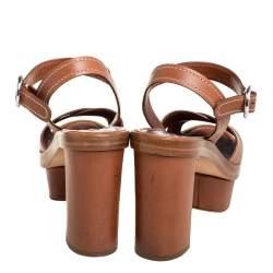 Prada Brown Leather Criss Cross Platform Ankle Strap Sandals Size 35