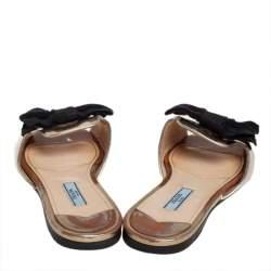 Prada Gold Leather Bow Peep Toe Flat Slides Size 37.5