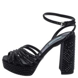 Prada Black Satin And Crystal Embellished Platform Sandals Size 38.5