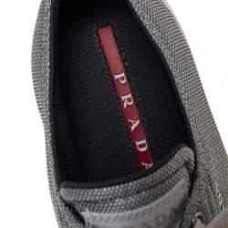 Prada Silver Fabric Low Top Sneakers Size 36