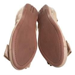 حذاء باليرينا فلات برادا مزين فيونكة جلد لامع بيج مقاس 37.5