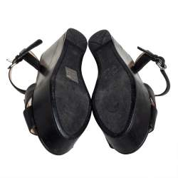 Prada Black Leather Crisscross Ankle Strap Wedge Sandals Size 36.5