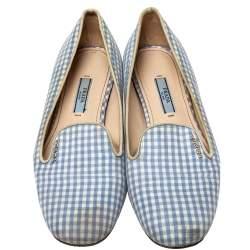 Prada Blue/White Canvas Smoking Loafers Size 37
