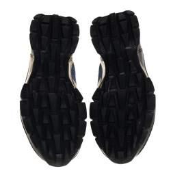 Prada Black/Blue Fabric Velcro Strap Low Top Sneakers Size 40