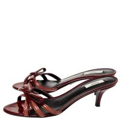 Prada Two Tone Patent Leather Bow Slides Size 39.5