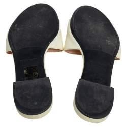Prada Cream Saffiano Leather Flat Sandals Size 37.5