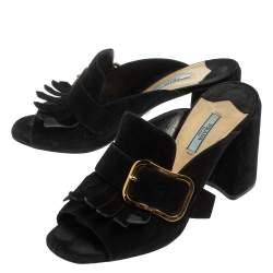 Prada Black Suede Fringe Mule Sandals Size 40.5