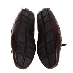 Prada Brown Leather Bow Loafers Size 40