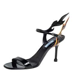 Prada Black Patent Leather Flame Ankle Strap Sandals Size 41