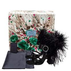 Prada Black Satin And Feather Trim Criss Cross Block Heel Sandals Size 39.5